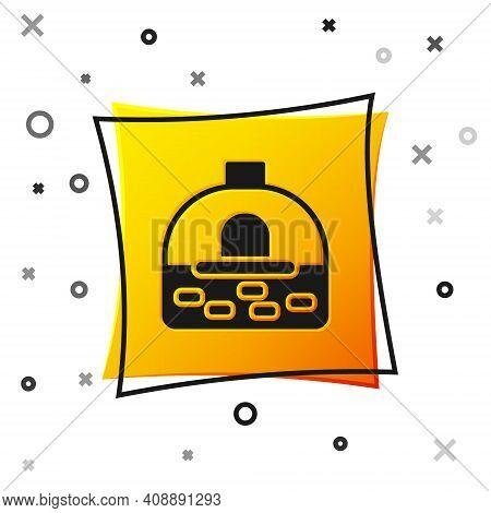 Black Brick Stove Icon Isolated On White Background. Brick Fireplace, Masonry Stove, Stone Oven Icon