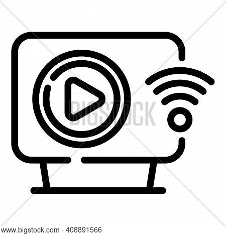 Interactive Tv Wifi Icon. Outline Interactive Tv Wifi Vector Icon For Web Design Isolated On White B