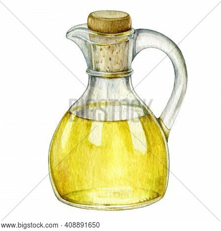 Olive Oil In Glass Bottle Illustration. Natural Fresh Organic Yellow Vegetable Oil Realistic Waterco