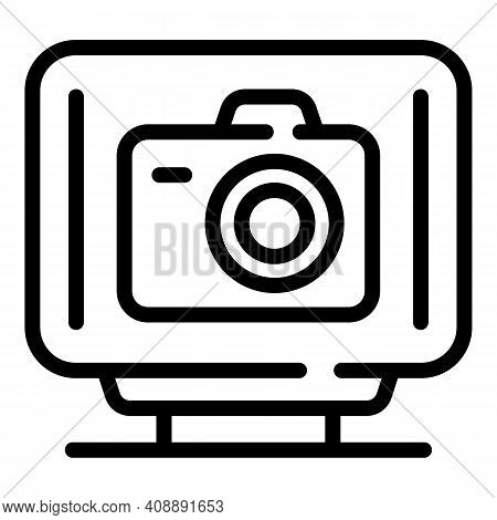 Interactive Tv Photo Icon. Outline Interactive Tv Photo Vector Icon For Web Design Isolated On White