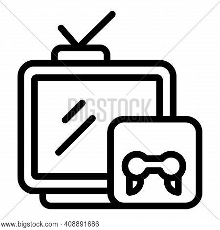 Interactive Tv Gaming Icon. Outline Interactive Tv Gaming Vector Icon For Web Design Isolated On Whi