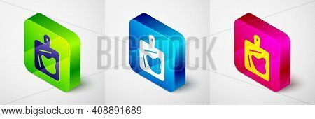 Isometric Cutting Board Icon Isolated On Grey Background. Chopping Board Symbol. Square Button. Vect