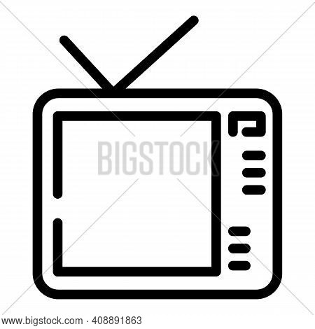 Interactive Tv Media Icon. Outline Interactive Tv Media Vector Icon For Web Design Isolated On White