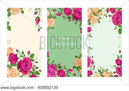 Vertical Floral Background With Roses. Vector Illustration For Screens, Smartphones And Social Media