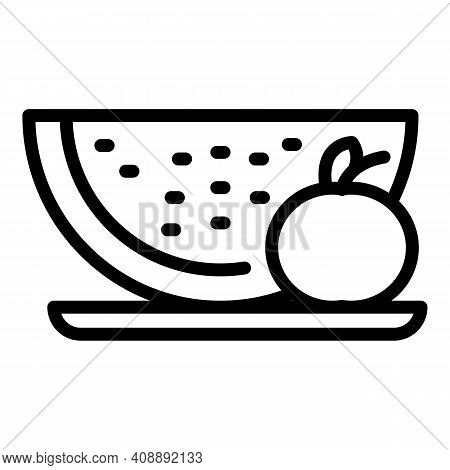 Watermelon Fruit Salad Icon. Outline Watermelon Fruit Salad Vector Icon For Web Design Isolated On W