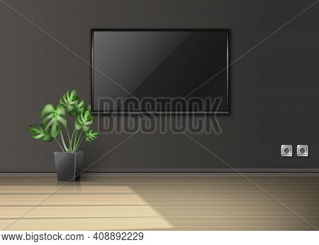 Realistic Vector Empty Living Room With Screen On The Wall And Plant In A Black Pot With Sun Light C