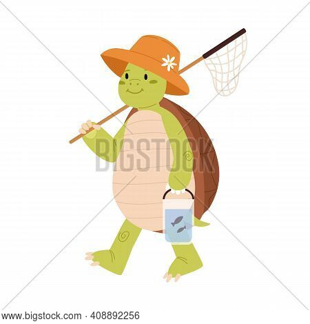 Cute And Funny Green Turtle In Summer Hat Going Fishing And Carrying Landing Net. Happy Smiling Tort