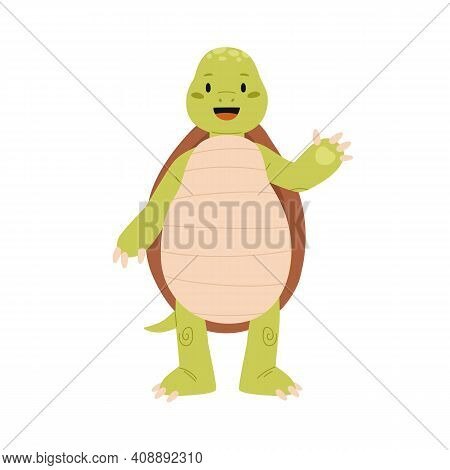 Cute And Funny Green Turtle Waving Hand And Saying Hi. Happy Smiling Tortoise Character Standing On