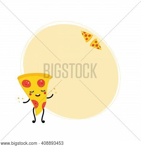 Oval Shape Vector Background Template With Cute Cartoon Style Smiling Pizza Characters For Fast Food