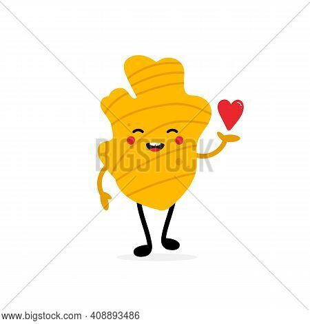 Cute Cartoon Style Ginger Root Character Holding In Hand Red Heart. Love, Appreciation And Support C