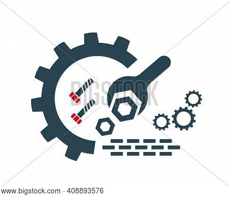 Vector Illustration Of The Logo, The Icon Of Repair And Installation Works. Isolated On A White Back