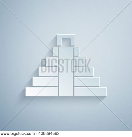 Paper Cut Chichen Itza In Mayan Icon Isolated On Grey Background. Ancient Mayan Pyramid. Famous Monu