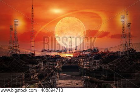The Road To Space Exploration. Alien Techno Planet And Launch Pad At The Sunset Sky With Extraterres