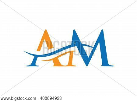 Modern Am Logo Design For Business And Company Identity. Creative Am Letter With Luxury Concept.