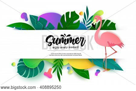 Summer Vector Banner Template Design. Summer Enjoy Every Moment Text In Empty White Space With Flami