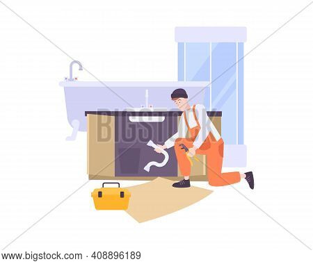 Plumbing Composition With Flat Character Of Plumber At Work With Bathroom Fixture Images Vector Illu