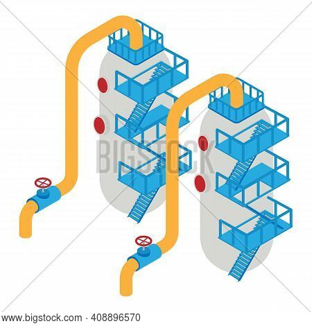 Refinery Plant Tanks Icon. Isometric Of Refinery Plant Tanks Vector Icon For Web Design Isolated On