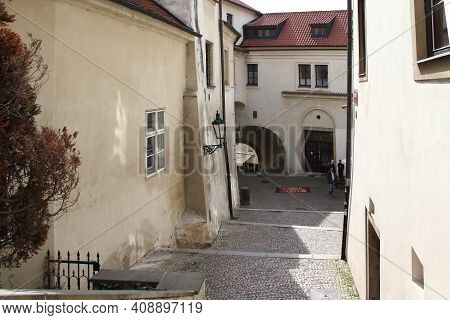 Prague, Czech - April 24, 2012: Town Hall Street Is A Staircase With Arched Passage Through Houses I