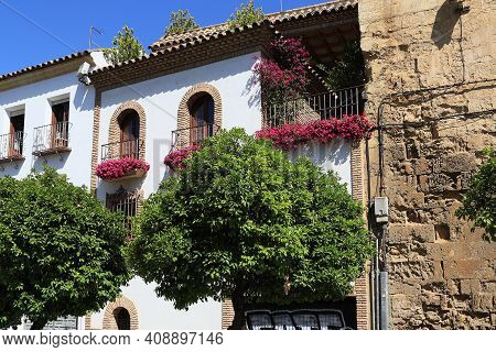 Cordoba, Spain - May 23, 2017: There Are A Fragments Of Facades Of Historic Buildings In Downtown.