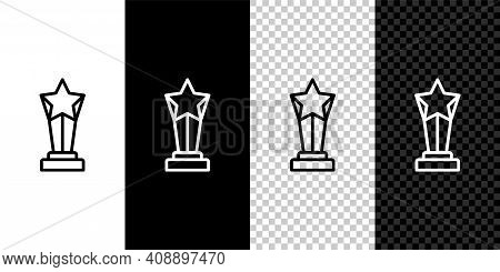 Set Line Award Cup Icon Isolated On Black And White, Transparent Background. Winner Trophy Symbol. C