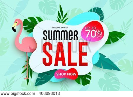 Summer Sale Vector Banner Template Design. Summer Sale Up To 70% Off  Text Advertisement Promotion W