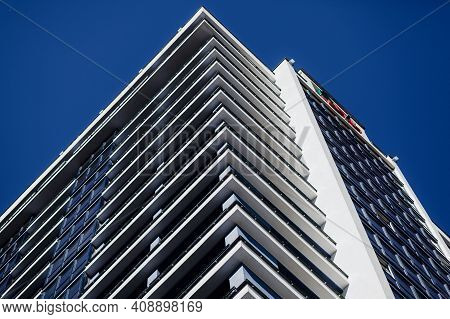 Fragment Of Modern Residential Apartment With Flat Buildings Exterior. Detail Of New Luxury House An