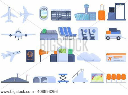 Airlines Icons Set. Cartoon Set Of Airlines Vector Icons For Web Design