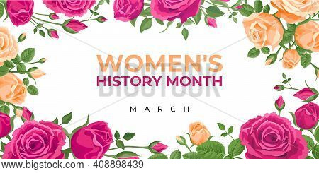 Women's History Month. Vector Banner, Poster, Flyer, Greeting Card For Social Media With The Text Wo