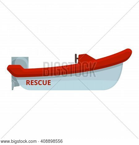 Motor Rescue Boat Icon. Cartoon Of Motor Rescue Boat Vector Icon For Web Design Isolated On White Ba