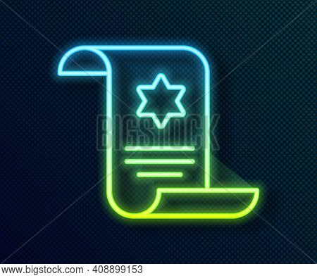 Glowing Neon Line Torah Scroll Icon Isolated On Black Background. Jewish Torah In Expanded Form. Sta