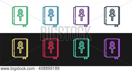 Set Line Cross Ankh Book Icon Isolated On Black And White Background. Vector