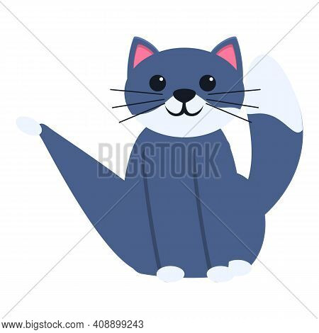 Playful Cat Sitting Icon. Cartoon Of Playful Cat Sitting Vector Icon For Web Design Isolated On Whit