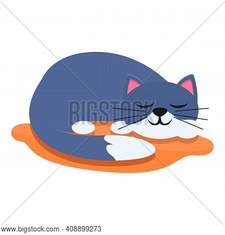 Playful Cat Sleeping Icon. Cartoon Of Playful Cat Sleeping Vector Icon For Web Design Isolated On Wh