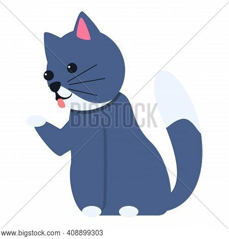 Playful Cat Stand Icon. Cartoon Of Playful Cat Stand Vector Icon For Web Design Isolated On White Ba