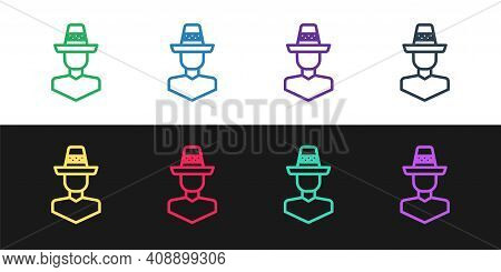 Set Line Mexican Man Wearing Sombrero Icon Isolated On Black And White Background. Hispanic Man With
