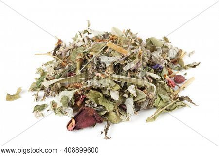 Heap of herb and flower tea isolated on white background