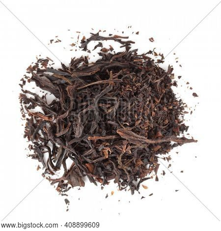 Heap of South Fujian oolong tea isolated on white background