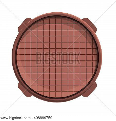 Sewer Manhole Icon. Cartoon Of Sewer Manhole Vector Icon For Web Design Isolated On White Background