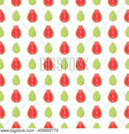 Chess Seamless Pattern With Guava Fruit Cut In Half Pink With Yellow Seeds And Whole Green. Nature F