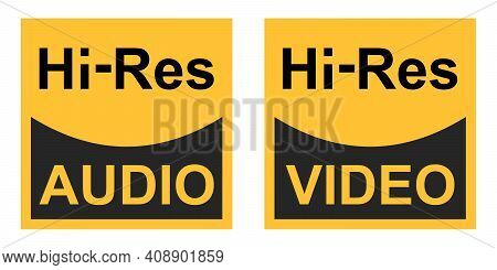 High Resolution Video Audio Signals Vector Sign Symbol Icon Hi Res Audio Video