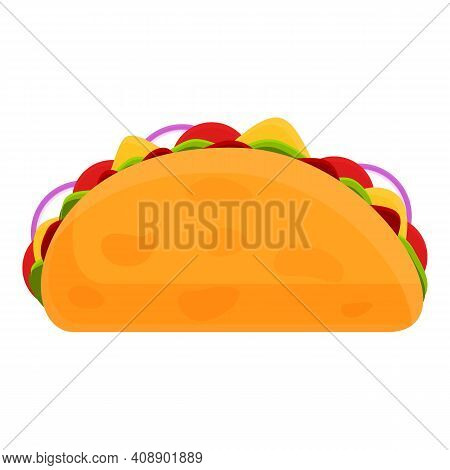Vegetarian Taco Icon. Cartoon Of Vegetarian Taco Vector Icon For Web Design Isolated On White Backgr