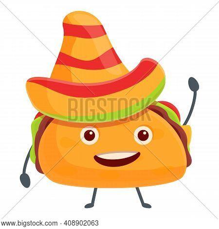 Tacos In Sombrero Icon. Cartoon Of Tacos In Sombrero Vector Icon For Web Design Isolated On White Ba