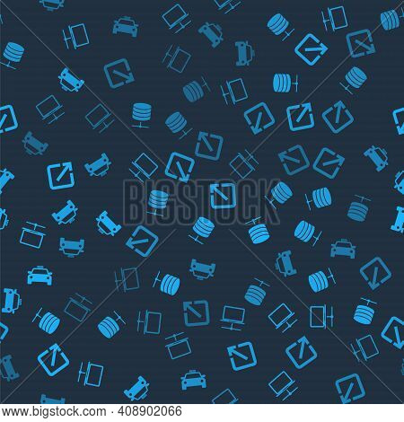 Set Computer Network, Server, Data, Web Hosting, Open New Window And Taxi Car On Seamless Pattern. V