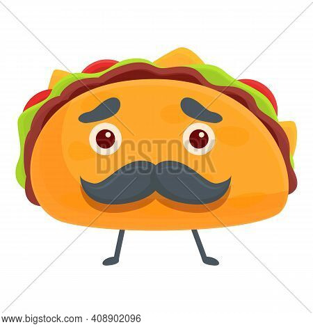 Taco With Mustache Icon. Cartoon Of Taco With Mustache Vector Icon For Web Design Isolated On White