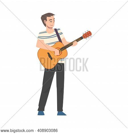 Man Playing Guitar, Male Musician Playing Strings At Musical Performance Or Learning To Play Musical