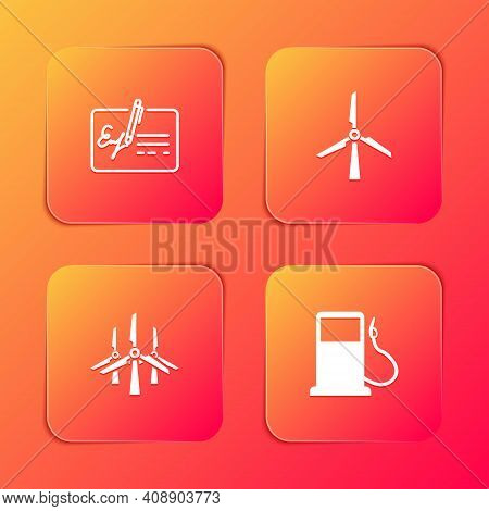 Set Signed Document, Wind Turbine, Turbines And Petrol Or Gas Station Icon. Vector