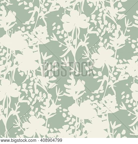 Blooming Shadows Floral Seamless Vector Pattern. Simple Floral Bouquet Silhouettes In White On Mint