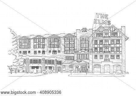 Vector Illustration With Style Mansion, Villa, Country Estate. Wedding Venue Illustration