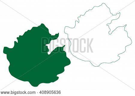 Upper Dibang Valley District (arunachal Pradesh State, Republic Of India) Map Vector Illustration, S