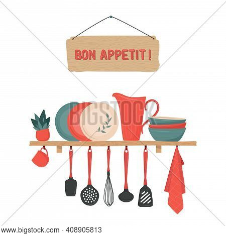 Set Of Kitchen Accessory On Shelves And Bon Appetit Sign. Vector Kitchen Tools. Kitchen Shelves In R